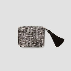 ZARA Tweed Wallet Black White Metallic Tassle 4373